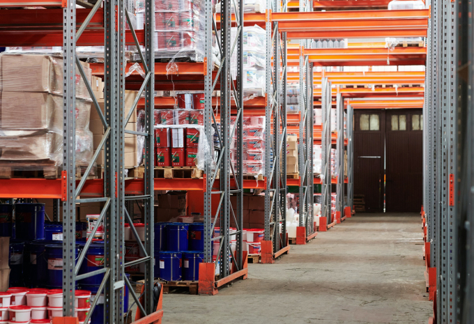 A colorful warehouse